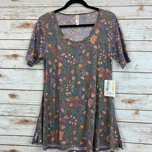 LuLaRoe Perfect T Small Bllack/Pink Flower NWT